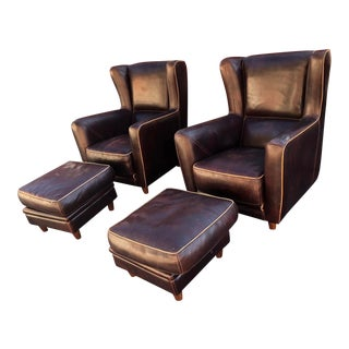 Baxter Leather Bergere Chairs with Pouf Ottomans - 4 Pc. Set For Sale
