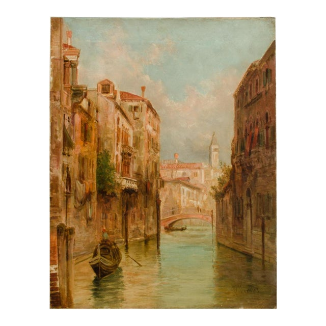 """19th Century """"Venice in June"""" Cityscape Oil Painting by Alfred Pollentine For Sale"""