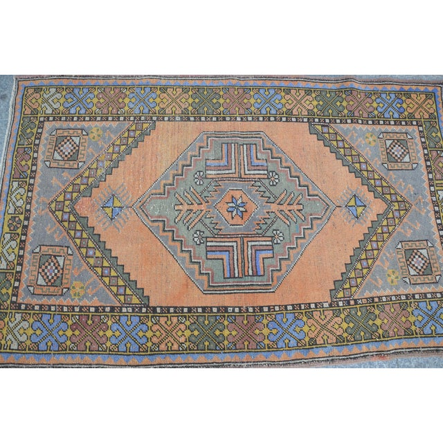 Textile Turkish Oushak Antique Wool Rug - 3′6″ × 5′6″ For Sale - Image 7 of 11