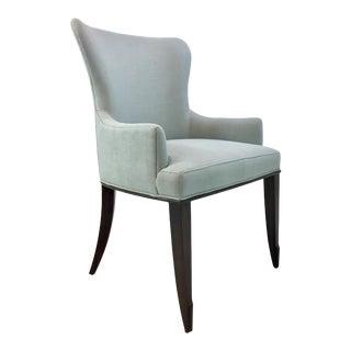 Barbara Barry for Henredon Transitional Robin's Egg Blue Linen Arm Chair/Desk Chair For Sale