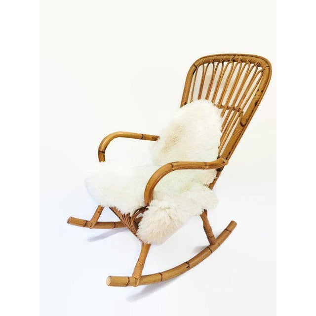1960s Mid Century Sculpted Bamboo Rocking Chair High Back Franco Albini Style Rocker For Sale - Image 5 of 11