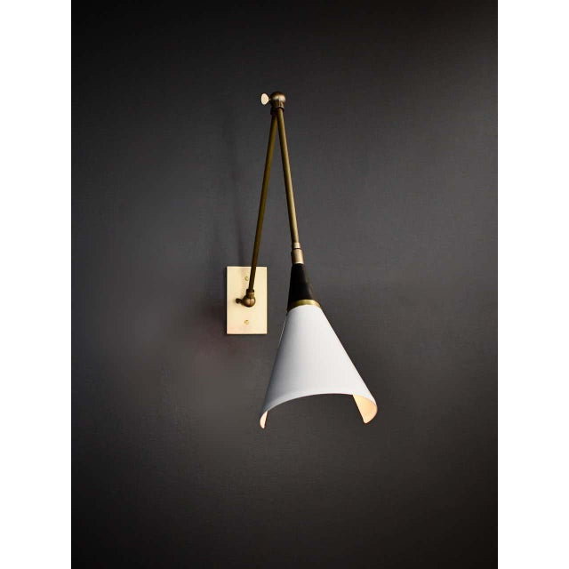 Italian Magari Adjustable Wall Lamp in Black, White and Brass by Blueprint Lighting For Sale - Image 3 of 10