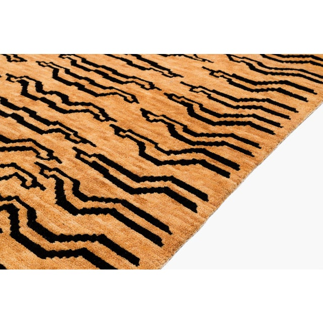 Black and Golden Tan Wool Tibetan Tiger Area Rug-3′ × 6′ For Sale - Image 4 of 7