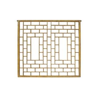 Vintage Restored Oriental Zen Geometric Wood Wall Panel