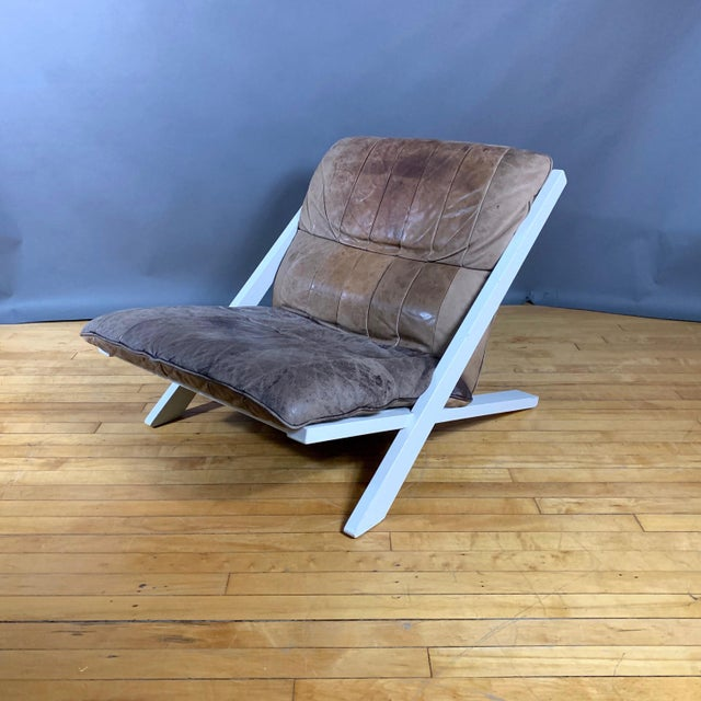 "Pair Swiss Leather ""X-Chair"" by Ueli Berger for De Sede, 1970s For Sale In New York - Image 6 of 12"