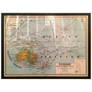 Oceania Map-Horizontal For Sale
