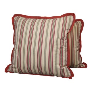 "Custom Made Throw Pillows in ""Scalamandre"" Cotton Stripe Fabric- a Pair For Sale"