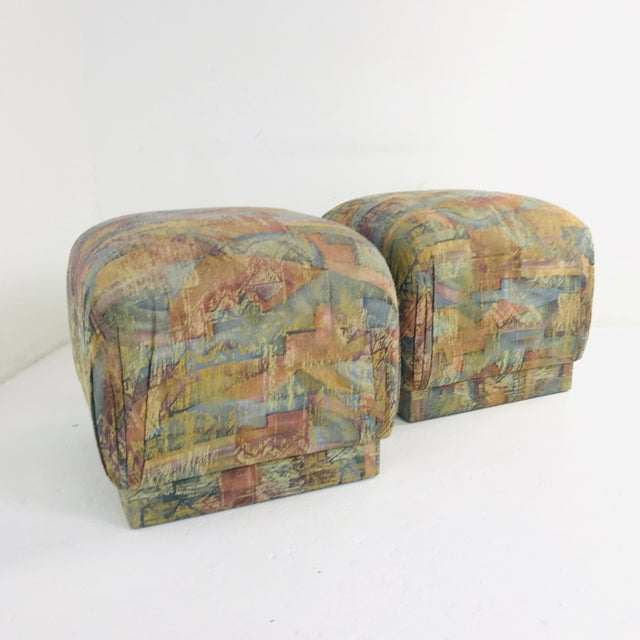 1970s Pair of Pouf Ottomans With Plinth Base For Sale - Image 5 of 12
