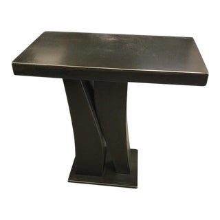 Modern Flat Black Metal Pedestal Small Table For Sale