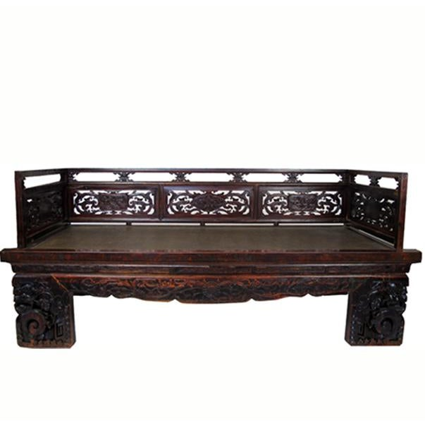 1900s Antique Chinese Daybed With Hand Carved Railing For Sale - Image 11 of 11