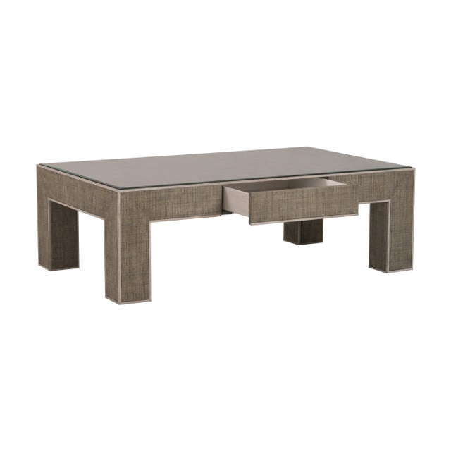 Modern Century Furniture Newport 1 Drawer Coffee Table, French Grey and Peninsula For Sale - Image 3 of 6