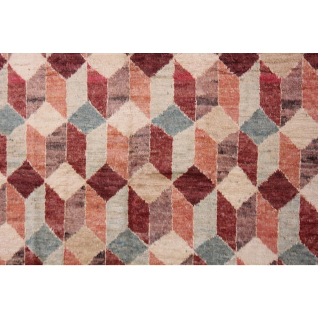 "Cubism Hand Knotted Modern Rug by Aara Rugs Inc. - 8'7"" X 7'5"" For Sale - Image 3 of 4"