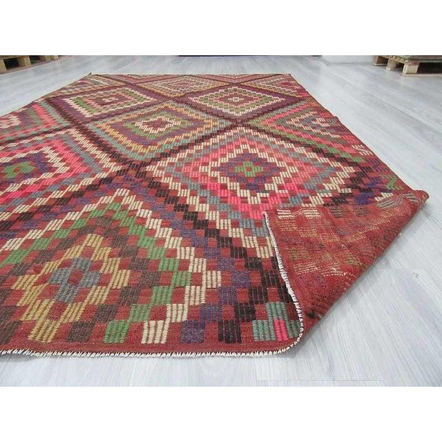 Vintage Turkish Kilim Embroidered Rug - 5′11″ × 9′11″ For Sale In Los Angeles - Image 6 of 6