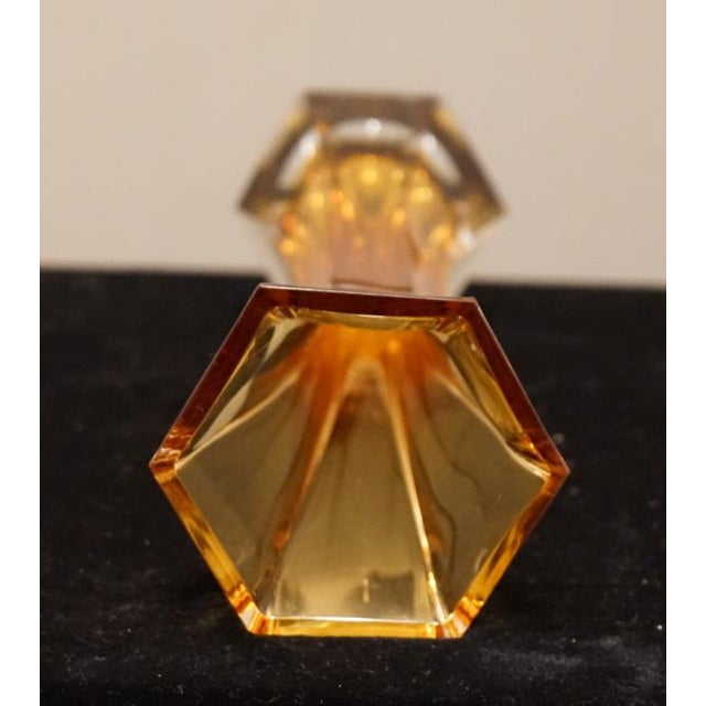 Early 21st Century Vintage Murano Art Glass Hexagonal Amber Glass Vase For Sale - Image 11 of 12
