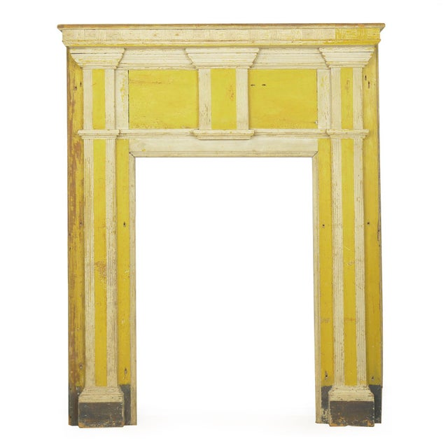 Neoclassical Federal Antique Fireplace Surround Mantel in Early Yellow & White Paint For Sale - Image 13 of 13