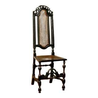 William & Mary Black Painted Beech Side Chair, England Ca. 1680. For Sale