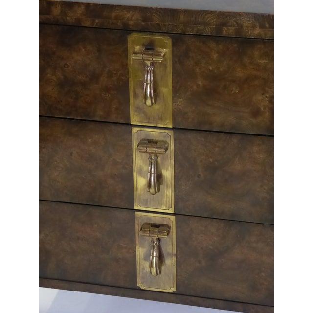 Gold 1970s William Doezema for Mastercraft Burl Elm Nine-Drawer Dresser For Sale - Image 8 of 12