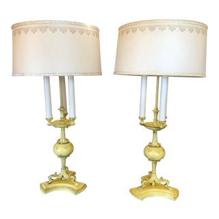 1940s Hollywood Regency Yellow Tole Bouillotte Lamps with Custom Shade - a Pair For Sale