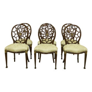 Set of 6 Baker Adam Style Web Back Design Dining Chairs For Sale