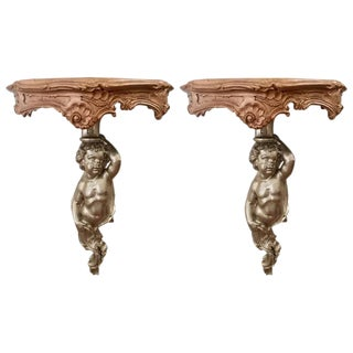 19th Century Louis XV Style Carved Giltwood Putto Wall Brackets - a Pair For Sale