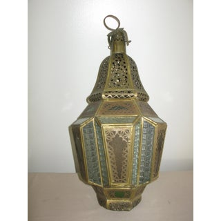 Antique Moroccan Lamp Gold With Colored Glass Preview