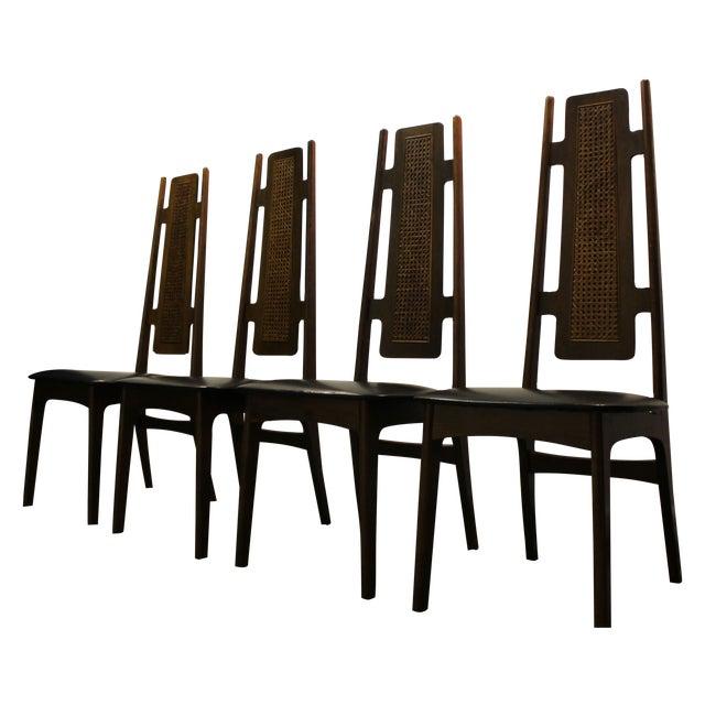 Mid Century Modern High Back Dining Chairs 4 Chairish