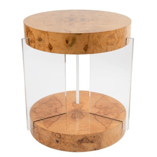 1970s Burl and Acrylic Center Table Attributed to Vladimir Kagan For Sale