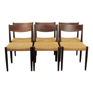 1960s Vintage Poul Volther Rosewood Dining Chairs- Set of 6 For Sale