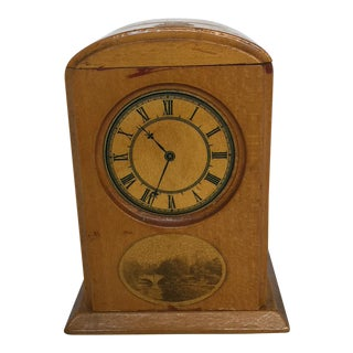 Mauchline Ware Coin Bank With Faux Clock