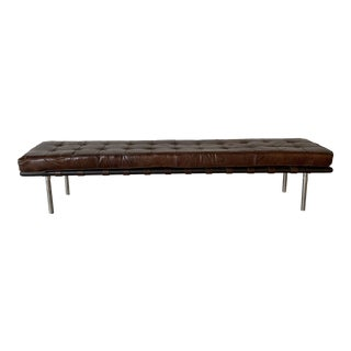 Distressed Brown Leather Bench For Sale