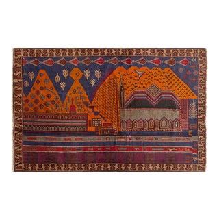 Vintage Afghan Tora Bora City Scape Scene Rug - 4′ × 6′ For Sale