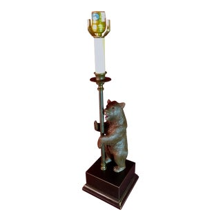 Vintage Black Forest Bear Table Lamp For Sale