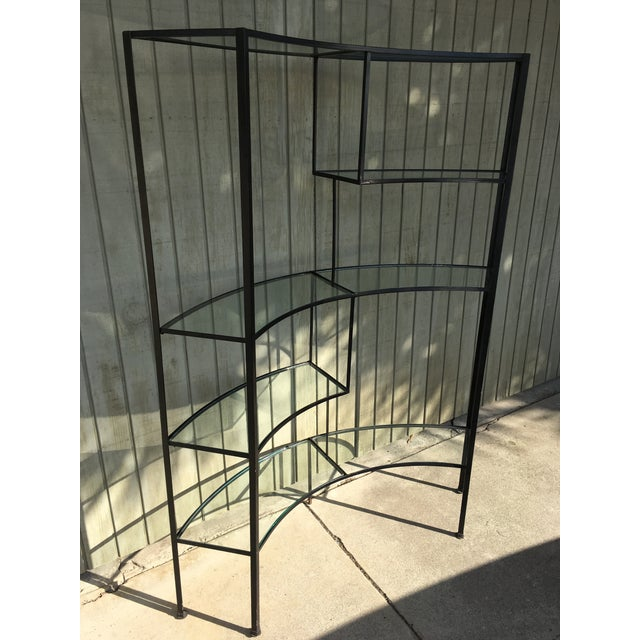 Frederic Weinberg Clear Glass Wrought Iron Shelf For Sale - Image 9 of 11