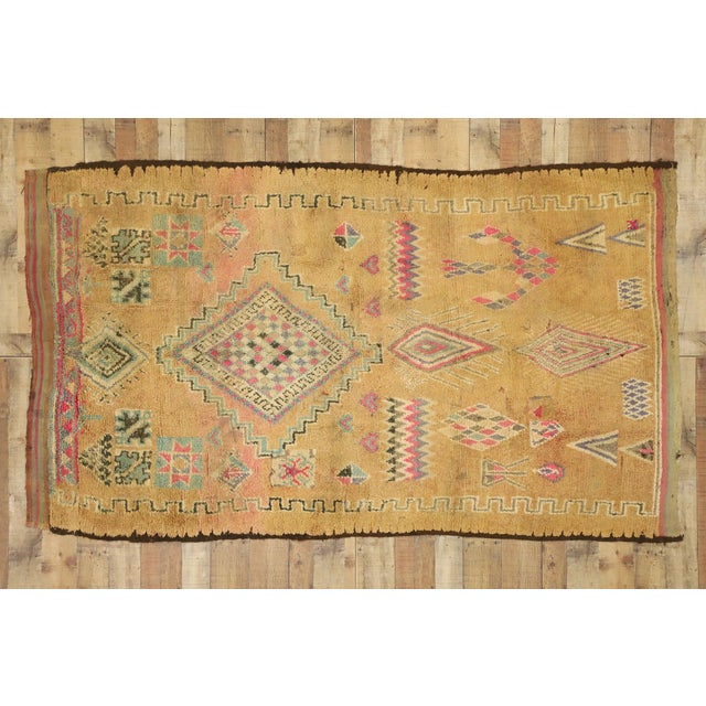 Camel Vintage Berber Moroccan Rug With Earth-Tone Colors - 05'01 X 08'05 For Sale - Image 8 of 10