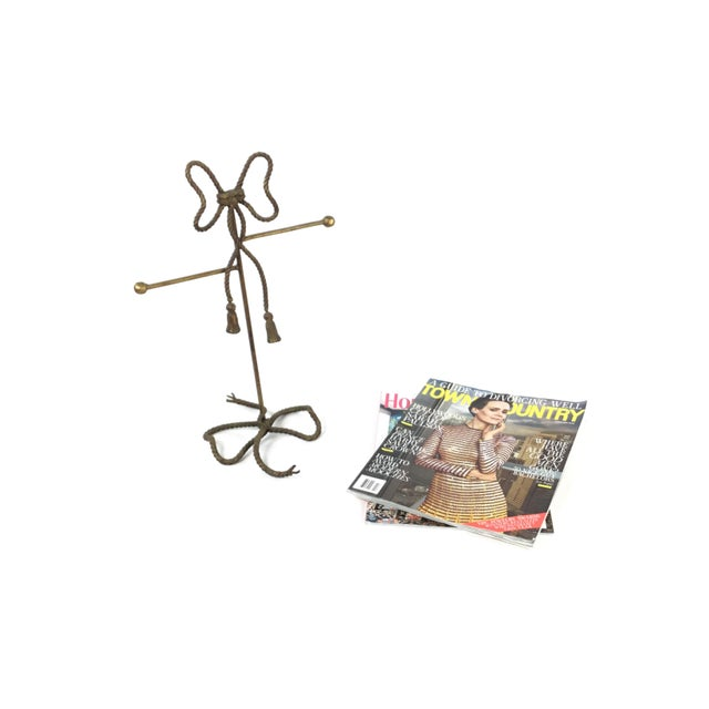 Metal Gold Gilt Steel Rope and Tassel Themed Hand Towel/Jewelry Stand For Sale - Image 7 of 9