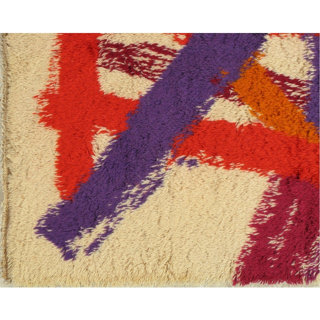 """1960s Swedish Rya rug with a soft pallet, plush wool pile. Size"""" 4'6""""x 6'5"""". The pile used to make this carpet is similar..."""