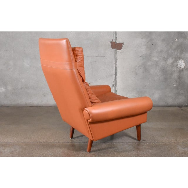 Danish High Back Leather Lounge Chair For Sale - Image 5 of 6