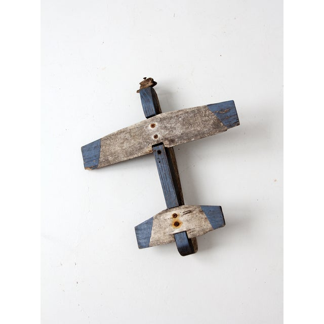 White Vintage Wooden Toy Airplane For Sale - Image 8 of 8