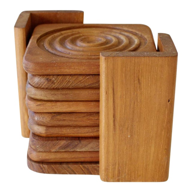 Danish Modern Dolphin Teak Coasters with Caddy - Set of 8 - Image 1 of 6