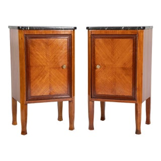 Italian Fruit Wood Bedside Cabinets - A Pair For Sale