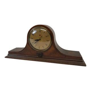 Vintage Art Deco Wood Mantel Clock by Telechron For Sale