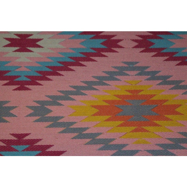 "Reversible Flat Weave Diamond Wool Kilim Rug - 5'3"" x 7'6"" - Image 5 of 8"