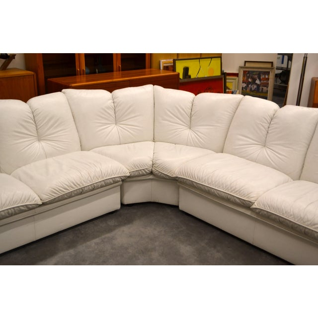 "Nicoletti Salotti Italian White Leather 3 Pieces Sectional Sofa 15' long each section are 60"" 33"" tall 32 deep"