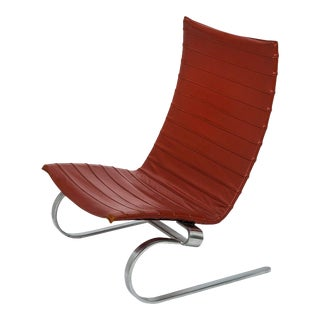 Leather Lounge Chair, Poul Kjaerholm PK-20 For Sale