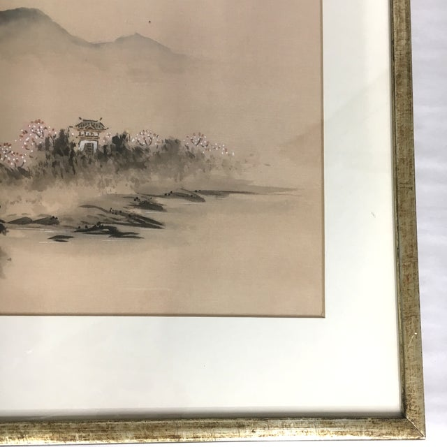 Vintage Framed Asian Silk Painting - Image 4 of 6