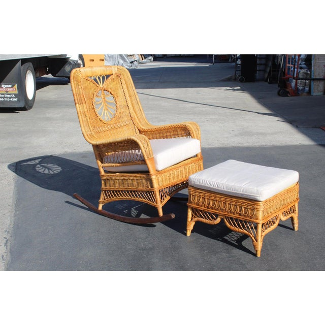 Ralph Lauren Rocking Chair & Foot Stool For Sale - Image 12 of 13