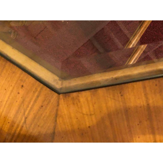 Wood Maitland Smith Bamboo Form Octagon Shaped End / Lamp Table With Bevelled Glass For Sale - Image 7 of 13