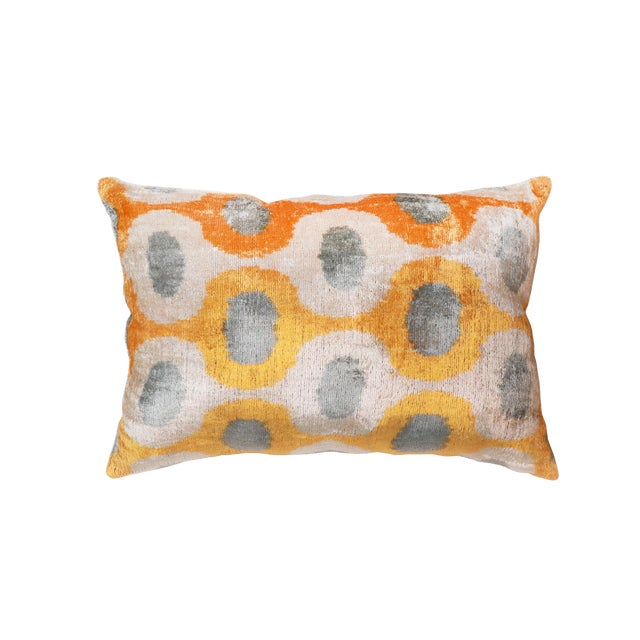 "Pasargad Silk Velvet Orange Ikat Pillow - 15"" X 24"" For Sale"