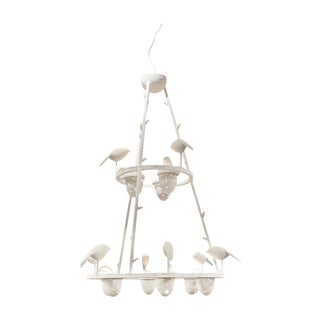 White Plaster Bird Chandelier, Jacques Darbaud, France, 2010 For Sale