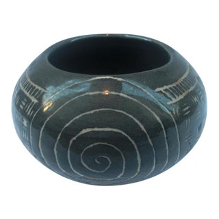 Handmade Bowl With Etched Tribal Design For Sale